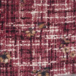 Bengaline polyviscose tressage sépia rouge