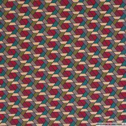 Bengaline polyviscose abstrait émeraude et rouge