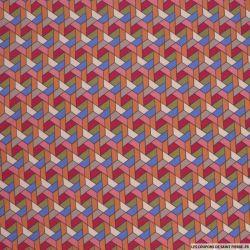 Bengaline polyviscose abstrait rose et bleu