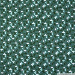 Coton imprimé espace triangle fond vert bleuté
