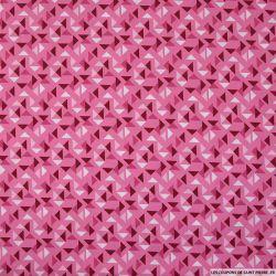 Coton imprimé espace triangle fond rose