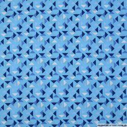 Coton imprimé espace triangle fond bleu