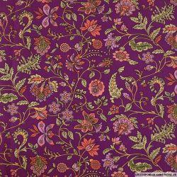 Coton imprimé attirer les regards fond aubergine