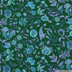 Coton imprimé attirer les regards fond vert impérial