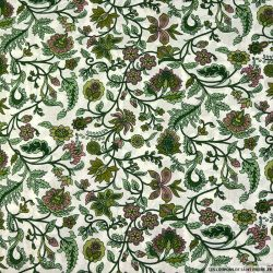 Coton imprimé attirer les regards vert fond blanc cassé