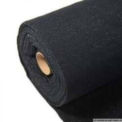 Bord côte lurex argent fond noir vendu au mètre
