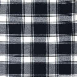 Clan écossais polyviscose marine et blanc
