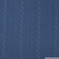 Maille polyviscose torsadée indigo