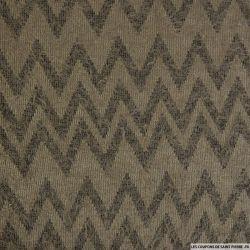 Maille polycoton à poils longs chevron gris