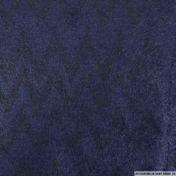 Maille polycoton à poils longs chevron marine