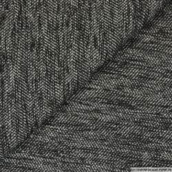 Tweed polyester fils irisés noir et gris