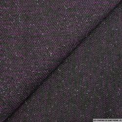 Tweed polyester fils irisés noir et violet