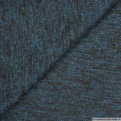 Tweed polyester fils irisés noir et bleu