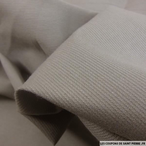 Tissu Piqué de coton milleraies uni taupe
