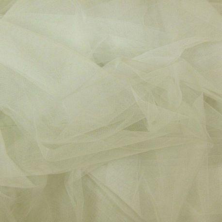 Tissu Tulle ou voile en polyester spécial mariage ivoire au mètre