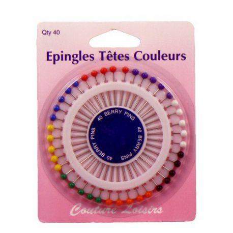 Epingles têtes couleurs X40 -34 mm x 0.62 mm
