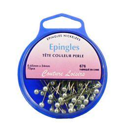 Epingles tête couleur perle x75 - 34x0,65mm