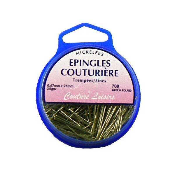 Epingles couture nickelées ±315 pcs 25g- 26x0.6mm
