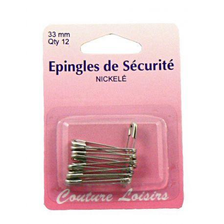 Epingles de sécurité nickelées n°1 X12 - 33 mm
