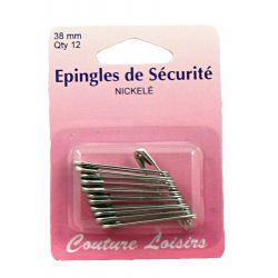 Epingles de sécurité nickelées n°2 X12 - 38 mm