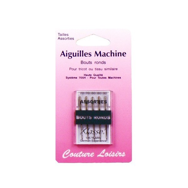Aiguilles machine bouts ronds assorties X5