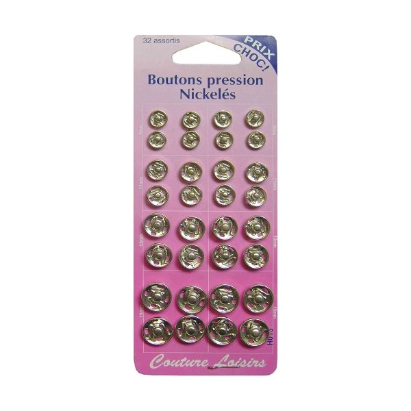 Boutons pression Nickelés-32 assortis