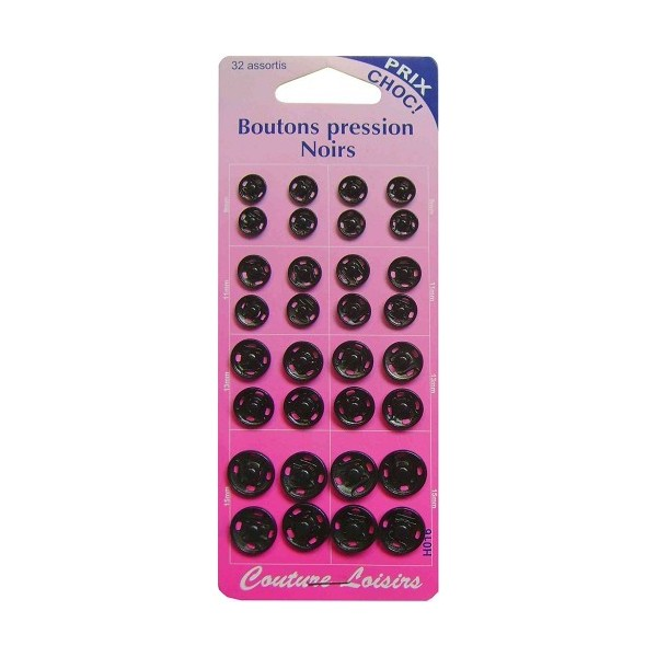 Boutons pression Noirs - 32 assortis