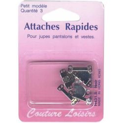 Agrafes nickelées pour pantalons-jupes X3 - Small
