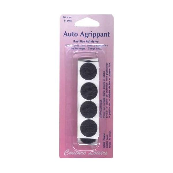 Pastilles adhésives noires 20 mm X8