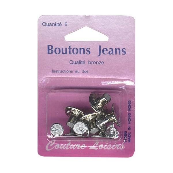Boutons jeans couleur nickelé X6