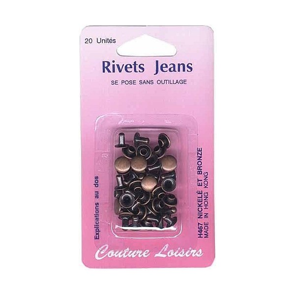 Rivets jeans couleur bronze X20