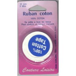 Ruban de coton blanc 12 mm long 5 m