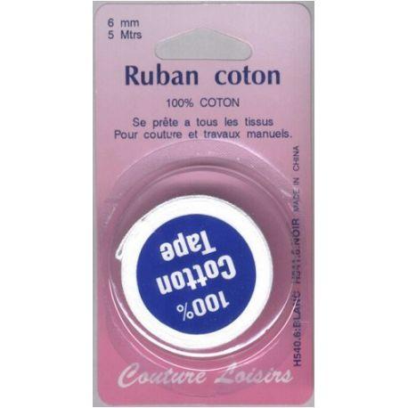Ruban de coton blanc 6 mm long 5 m