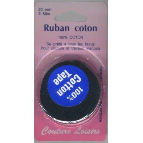 Ruban de coton noir 20 mm long 5 m