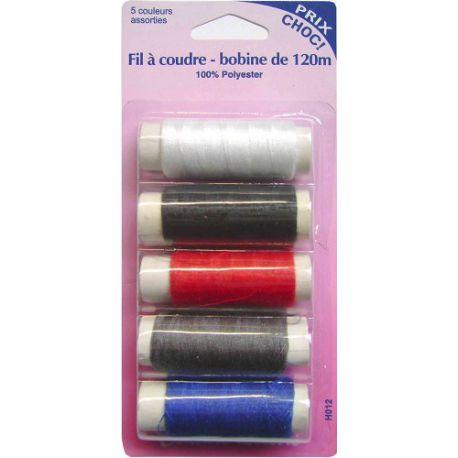 Fil à coudre - 5 bobines de 120 m- 100% polyester