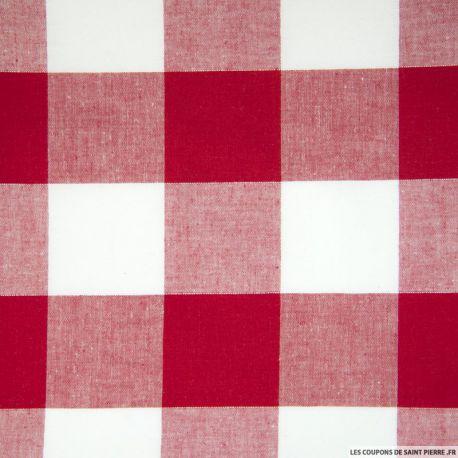 Tissu Coton Vichy Rouge 50 mm