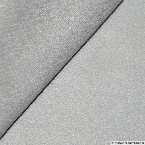 Tissu Suédine aspect cuir Gris Perle double face