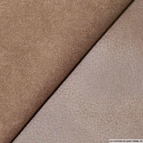Tissu Suédine aspect cuir Marron Clair double face