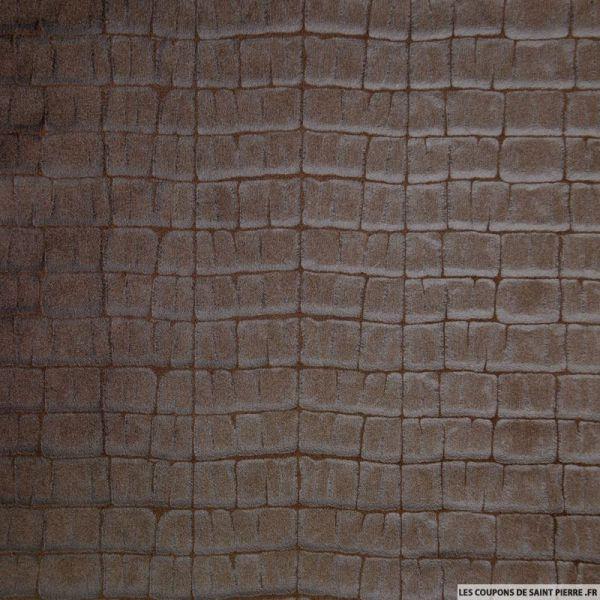 Tissu Simili Cuir souple effet Croco Marron
