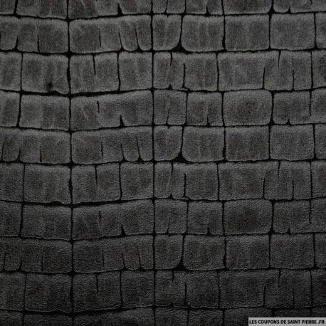 Tissu Simili Cuir souple effet Croco Noir