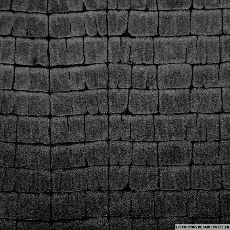 tissu simili cuir souple effet croco noir. Black Bedroom Furniture Sets. Home Design Ideas