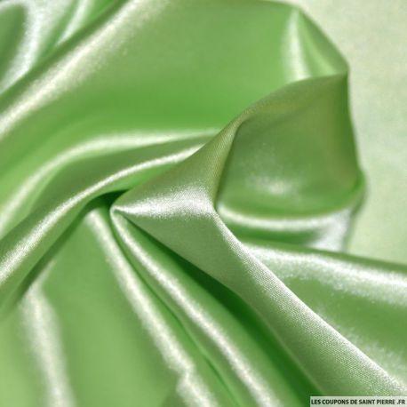 Tissu Satin Polyester uni Vert pomme