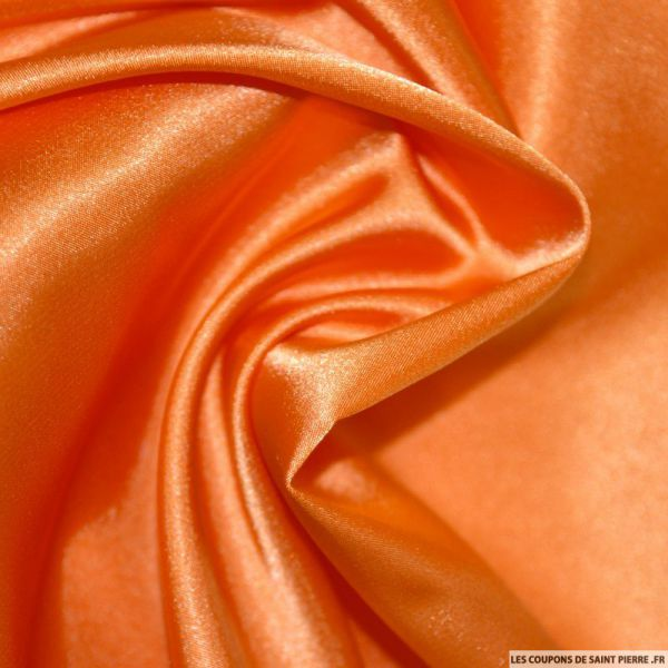 Tissu Satin Polyester uni orange