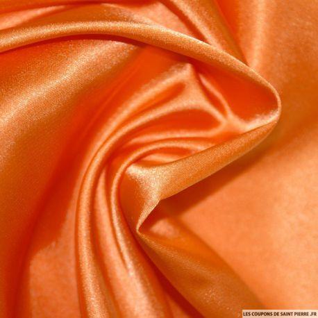 Tissu Satin Polyester uni orange