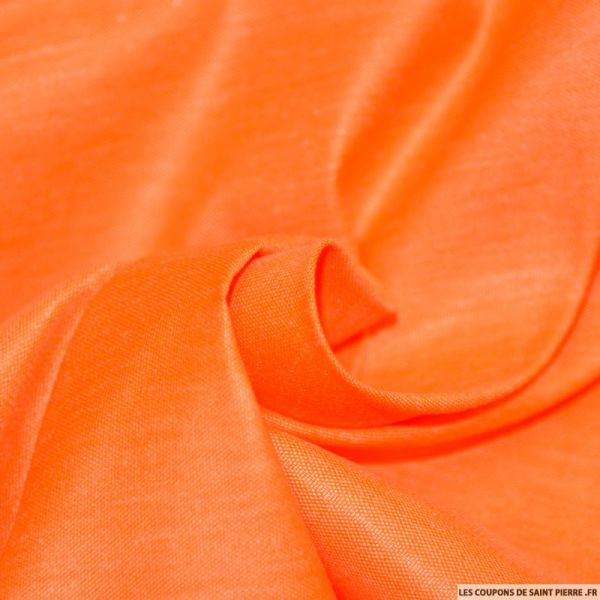 Tissu Chintz Polyester Coton Orange fluo
