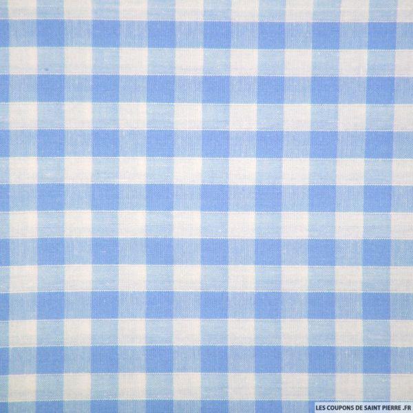 Tissu Coton Vichy 9mm Bleu
