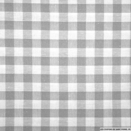 Tissu Coton Vichy 9mm Gris