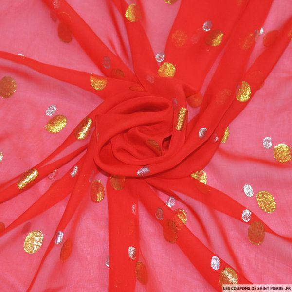 Tissu Mousseline de Soie rouge dévorée avec fils irisés à pois