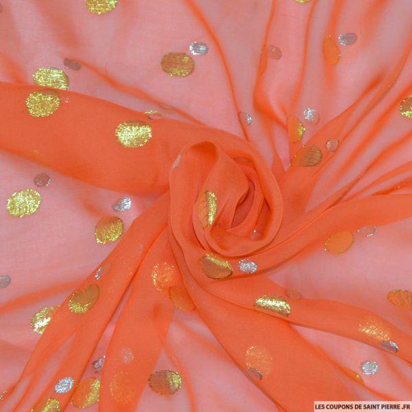 Tissu Mousseline de Soie orange dévorée avec fils irisés à pois