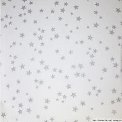 Tissus Piqué de coton imprimé étoiles argents